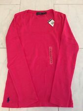 NWT POLO RALPH LAUREN LADIES LS PINK RIBBED SCOOP NECK TEE SHIRT MEDIUM PONY