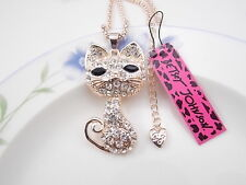 Betsey Johnson fashion jewelry Crystal cat pendant necklace # F128
