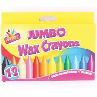 Pack of 12 Jumbo Wax Crayons - Children's Art Non Toxic Colouring Party Bag 5073