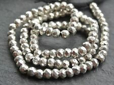 "HAND FACETED SILVER COLOUR COATED PYRITE RONDELLES, 3.5mm, 13"", 115 beads"