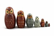Matryoshka Russian Nesting Doll Babushka Beautiful Family of Owls Owl 7 Pieces