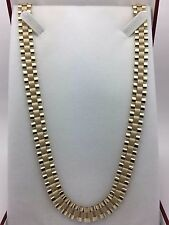 "New Men's Solid 10K Yellow Gold 26.5"" Watch Link Chain Necklace 43.5 grams,10 mm"