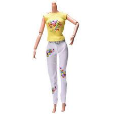 2 X/Set Yellow Vest Suit for Barbie Dolls White Pants Fashion Cloth Two-Piece WB