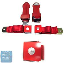1964-66 Chevrolet Bowtie Lift Latch Style Front Seat Belts - Pair - Red