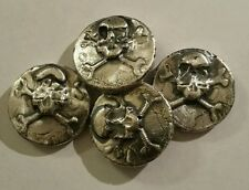 1 oz .999 Silver hand poured skull and crossbones art bar pirate treasure mkbarz