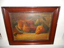 Very old oil painting,{ Stl life with fruit, nice frame, is antique! }.