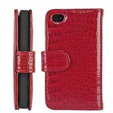 Red Wallet Style Magnetic Flip Textured Crocodile Leather Case FOR IPHONE 4/4S