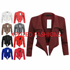 New Womens Ladies Waterfall Style 3/4 Sleeve Crop Blazer Jacket Coat Plus Size