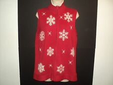 Quacker Factory Size S Vest Red with Embroidered Snowflakes Zip Front Beaded