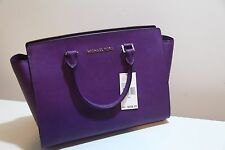 Michael Kors Selma - Large Purple Leather Saffiano