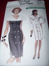VOGUE #7439 - LADIES DAY or EVENING DOUBLE BREASTED TAPERED DRESS PATTERN  8-12