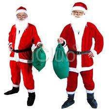 7pcs Men Santa Claus Costume Father Christmas Fancy Dress Budget Outfit Adult