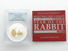 2011-P Australia Lunar Rabbit $1 One Dollar Silver Gold 1oz Coin PCGS SP69