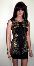 Mini Pencil Dress in Black with Gold Foil Print Summer or Party Dress Size 8-10