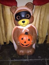 "NEW 23"" Halloween Lighted Blow Mold Bandit Bear Yard Decoration"