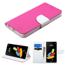 For LG Stylo 2 LS775 Premium Leather 2Tone Wallet Pouch Flip Case Phone Cover
