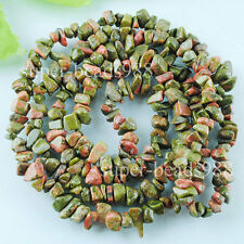 "Unakite Jasper Gemstone Chips Loose Spacer Beads 35""Strand Jewelry Making SG424"