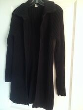 J.Crew Sweater Coat Duster L Long Black Knit Cable Thick Zipper Large EUC