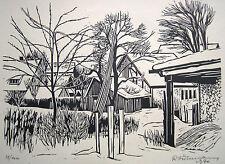 """Rudolf Führmann 1909-1976 Hamburg / Linolschnitt """"Schwäbischer Bauernhof"""" 1970"""