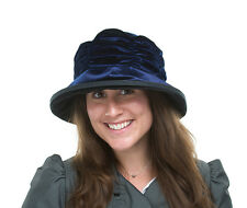 BRAND NEW LADIES VELVET CLOCHE STYLE NAVY HAT STACEY