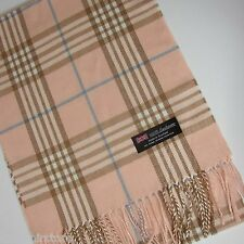 "100% Cashmere Scarf Pink White brown Check Plaid Scotland Warm Wool Wrap ""A10"""