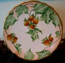 Limoges Scalloped Gild Gold Hand Painted Fruit Plate Artist Signed
