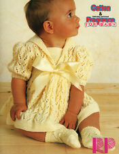"Lacy Baby Dress Puff  Sleeve  Sailor Collar 16 - 22""  DK Knitting Pattern"