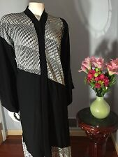 Very Fancy Black Khaleeji Dubai Half Open Abaya Jilbab With Hijab Size L 58""