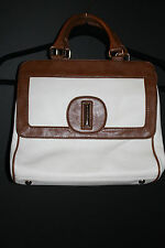 Banana Republic White and Brown Pebbled Leather Handbag