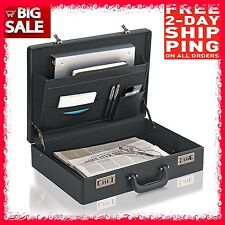 NEW LEATHER LIKE ATTACHE BRIEFCASE MEN PORTFOLIOHARD CASE WITH LOCK FREE 2 DAY