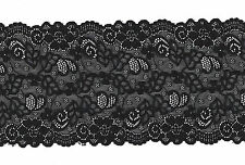 DENTELLE DE CALAIS stretch Noire  Black fine Calais Lace 15 cm de large