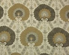 "BALLARD DESIGNS TAMERLANE TAUPE SUZANI FLORAL LINEN FABRIC BY THE YARD 55""W"