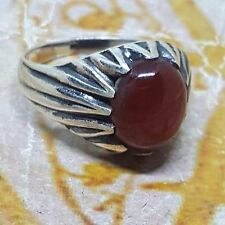 925 sterling silver men ring woman natural red kapidy agate aqeeq carnelian