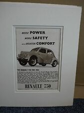 Vintage Advertisement mounted ready to frame Renault 750  1952