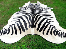 LARGE NEW LUXURY ZEBRA Print / Printed COWHIDE SKIN Rug steer COW HIDE - DC5300