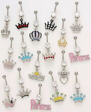 5 CZ Dangle Belly Button Rings Princess Crown 14g Wholesale Gem Jewelry Navel