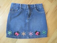 Girl GYMBOREE SCOTTIE DOG SNOWFLAKES DENIM JEAN SKIRT GUC 7