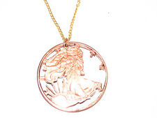 Hand Cut .999 pure Copper Walking Liberty Made into a Necklace