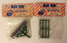 Vintage SLIK TOY Farm Tractor Implements 8922 Drag & 8927 Disc 1/32 Hard to Find