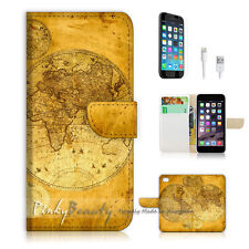 iPhone 7 (4.7') Flip Wallet Case Cover P1442 World Map