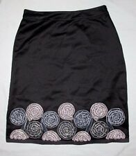 Boden UK 12L US 8L Black Skirt Gray Velvet Ribbon Flowers Women Work Circle EUC