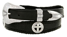 """Cowboy Silver Cross -  Concho Genuine Leather Western Belt 1-3/8"""" to 1"""" Wide"""