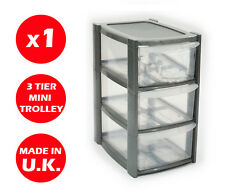 3 DRAWER SILVER TOWER UNIT !! PLASTIC DRAWERS !! STORAGE ORGANIZER !! MINI/SMALL