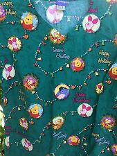 Disney Scrub Top Small Pooh Eeyore Piglet Christmas Happy Holiday Waist Pockets