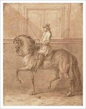 Ridinger Schritt an der Wand Kupferstich 1760 Faksimile 40x51cm 14 Reiter Pferd