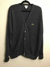 Vintage Izod Lacoste Grey Button Front Cardigan Mens Sweater XL