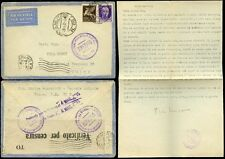 ITALY 1942 AIRMAIL + LETTER...MILITARY + PROVINCIAL CENSORS