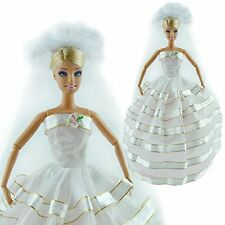 Hot Barbie Dolls' White Handmade Wedding Evening Party Dress Clothes Gown Veil