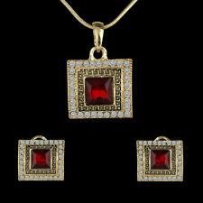 Luxury Crystal Suqare Red/Blue Sapphire Pendant Necklace +Earrings Jewelry Set