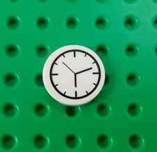 *NEW* Lego White Clock Round 2x2 Tile Time piece Printed Plate x 1 piece